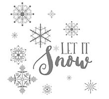 Elegant White and Gray Let it Snow Abstract snowflakes Photographic Print