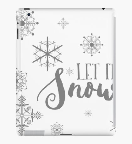 Elegant White and Gray Let it Snow Abstract snowflakes iPad Case/Skin