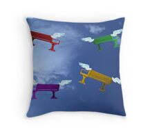 Winged benches Throw Pillow