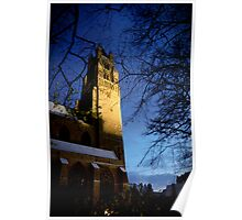 Snow covered Church in Bruges Poster