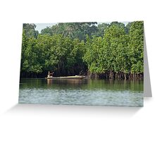 Gambian Woman paddling pirogue Greeting Card