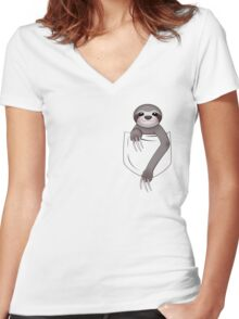 Pocket Sloth Women's Fitted V-Neck T-Shirt
