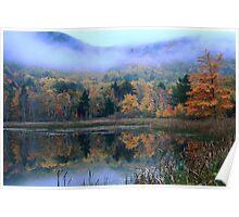 Misty Autumn Pond Landscape Poster