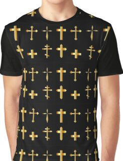 golden christian crosses in different designs  Graphic T-Shirt