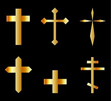 golden christian crosses in different designs  by Shawlin Mohd