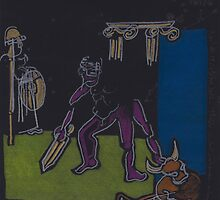 Night Drawings #B18 -  THESEUS - CONQUEROR OF THE MINOTAUR by Pascale Baud
