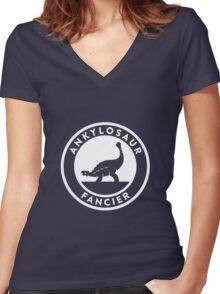 Ankylosaur Fancier (White on Dark) Women's Fitted V-Neck T-Shirt