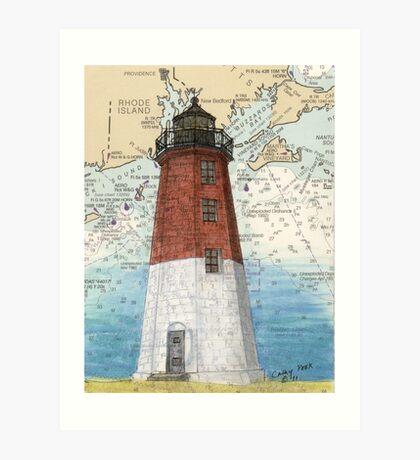 Pt Judith Lighthouse RI Nautical Chart Cathy Peek Art Print