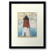 Pt Judith Lighthouse RI Nautical Chart Cathy Peek Framed Print