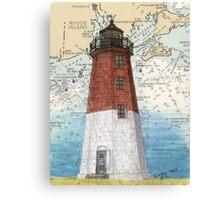 Pt Judith Lighthouse RI Nautical Chart Cathy Peek Canvas Print