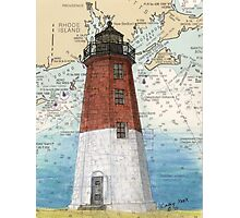 Pt Judith Lighthouse RI Nautical Chart Cathy Peek Photographic Print