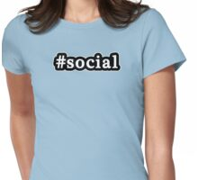 Social - Hashtag - Black & White Womens Fitted T-Shirt