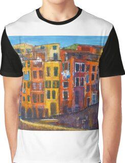 Riomaggiore Facade, CinqueTerre Graphic T-Shirt