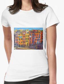 Riomaggiore Facade, CinqueTerre Womens Fitted T-Shirt