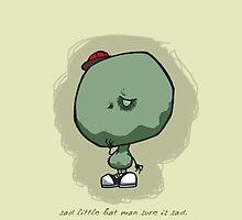 Sad Little Hat Man: iPhone Case by jeffpina78