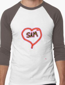 i love SAM heart  Men's Baseball ¾ T-Shirt