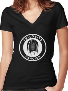 Trilobite Fancier (white on dark) Women's Fitted V-Neck T-Shirt