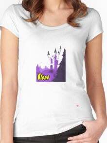 Halloween spooky alone at the castle  Women's Fitted Scoop T-Shirt