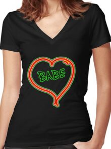 I LOVE babe heart  Women's Fitted V-Neck T-Shirt