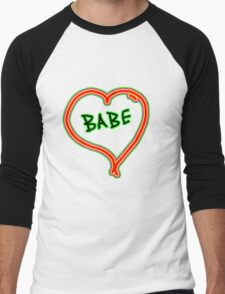 I LOVE babe heart  Men's Baseball ¾ T-Shirt