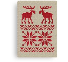 Moose Pattern Christmas Sweater Knit Canvas Print