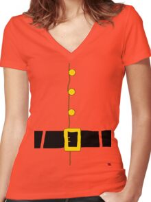 Halloween costume Santa suit ho ho ho  Women's Fitted V-Neck T-Shirt