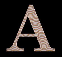 Letter A Metallic Look Stripes Silver Gold Copper by theartofvikki