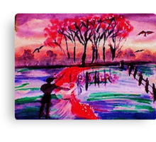 A lovely fall day by the water, watercolor Canvas Print