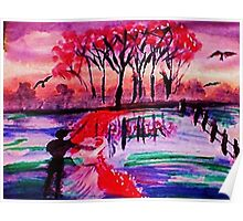 A lovely fall day by the water, watercolor Poster