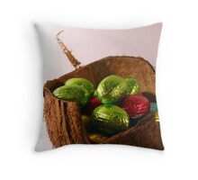 Foil Wrapped Easter Eggs, Basket - Green Red Throw Pillow