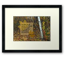 Peace and Building ~ Romans 14:19 Framed Print