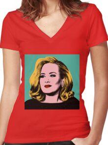 Adele Pop Art -  #adele  Women's Fitted V-Neck T-Shirt