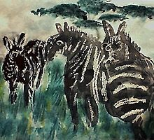 Zebra #4 daytime,  3 friends, watercolor by Anna  Lewis
