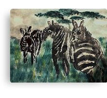 Zebra #4 daytime,  3 friends, watercolor Canvas Print