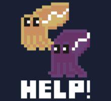 Help! Save the Cuttlefish Cute Pixel Art Shirt (Dark) by Dan & Emma Monceaux