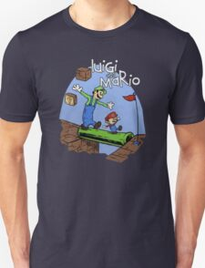 Luigi and Mario calvin and hobbes inspired T-Shirt