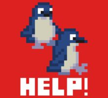 Help! Save the Penguins Cute Pixel Art Shirt (Dark) One Piece - Short Sleeve