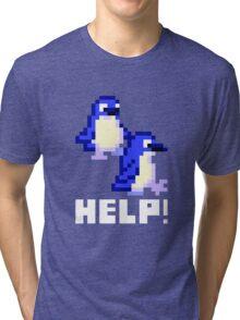 Help! Save the Penguins Cute Pixel Art Shirt (Dark) Tri-blend T-Shirt