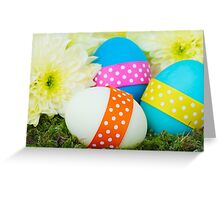 Painted Easter Eggs, Ribbons, Dots, Flowers Greeting Card