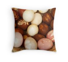 Painted Easter Eggs, Straw Basket - Brown White  Throw Pillow