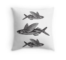 Flying Fish | Black and White Throw Pillow