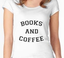 Books and Coffee - black Women's Fitted Scoop T-Shirt