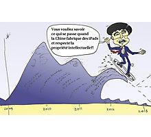 iPad surfer chinois Hu JINTAO en caricature politique Photographic Print