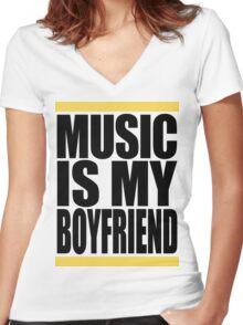 Music Is My Boyfriend Women's Fitted V-Neck T-Shirt
