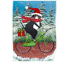 Winter Cat Bicycle Ride Poster