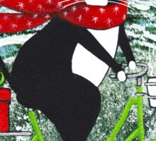 Winter Cat Bicycle Ride Sticker