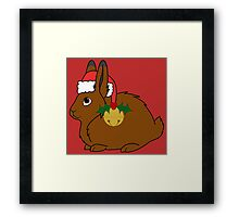 Brown Arctic Hare with Red Santa Hat, Holly & Gold Bell Framed Print