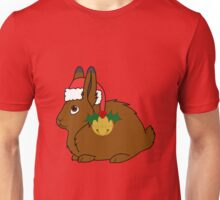 Brown Arctic Hare with Red Santa Hat, Holly & Gold Bell Unisex T-Shirt