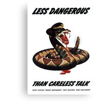 Less Dangerous Than Careless Talk - WW2 Canvas Print