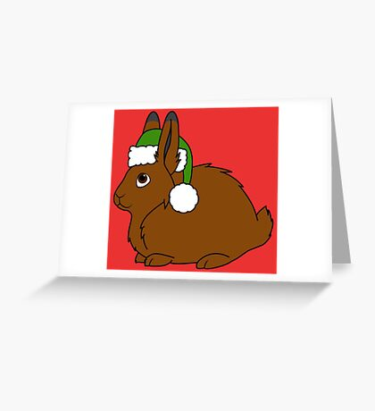 Brown Arctic Hare with Christmas Green Santa Hat Greeting Card